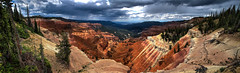 Cedar Breaks National Park (Mstraite) Tags: lighting trees light sunset panorama brown mountain storm nature weather clouds canon utah nationalpark view