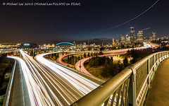 Rizal Bridge Ultra Wide Live Composite (P8203251) (Michael.Lee.Pics.NYC) Tags: seattle longexposure night washington downtown cityscape waterfront traffic i5 olympus flare interstate safecofield elliottbay 12thavenue i90 mkii markii lighttrail planetrail em5 drjoserizalbridge centurylinkfield livecomposite 714mmpro28