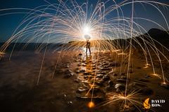 LUNA, MAR Y FUEGO (David Ros Photography) Tags: espaa noche playa panoramic luna panoramica nubes estrellas nocturna cartagena molinos startrail largaexposicion calblanque circumpolar fotografianocturna samyang canon6d davidros