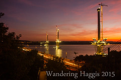 Bridges at night (wanderinghaggis) Tags: bridge light sunset sky skyline night canon evening scotland crossing open outdoor dusk space forth haggis 7d serene wandering