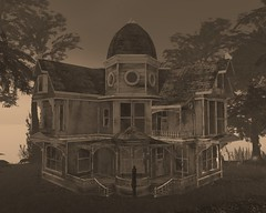 Knock Knock (sethometohere (Scarlett Robinson)) Tags: second secondlife:x=122 secondlife:y=55 secondlife:z=31 halloweenhaunted secondlife:region=waywardpeaks secondlife:parcel=waywardhalloweenwaywardeventscom lifewayward househalloweencreepy