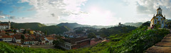Ouro Preto Pan 2 (D Song) Tags: old city travel blue sunset brazil sky panorama playing mountains streets green heritage church architecture kids buildings children churches panoramic historic unesco cobblestone vista belohorizonte hilly favela ouropreto slums