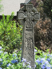 Celtic Cross (march61) Tags: religious celtic church garden flower cross plumbago monument symbols