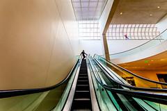 Stairway to Heaven (Thomas Hawk) Tags: boston bostonartmuseum idreamedicouldfly jonathanborofsky julia juliapeterson massachusetts museum museumoffineartsboston usa unitedstates unitedstatesofamerica escalator model mrsth spouse wife fav10 fav25 fav50