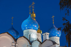 Blue and gold domes of the Cathedral of the Annunciation in the Kazan Kremlin (Oleg.A) Tags: autumn cathedral sunset kremlin street twilight church city kazan russia evening tatarstan oldtown catedral town  respublikatatarstan ru