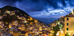 Riomaggiore panorama (JoshyWindsor) Tags: night sunset canonef1740mmf4l italy riomaggiore canoneos6d longexposure holiday sea lights ocean travel coastal cinqueterre panorama europe village twilight