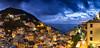 Riomaggiore panorama (JoshyWindsor) Tags: night sunset canonef1740mmf4l italy riomaggiore canoneos6d longexposure holiday sea lights ocean travel coastal cinqueterre panorama europe village twilight