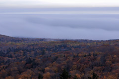 Layers of Fog and Fall (Sam Wagner Photography) Tags: layers fog dusk twilight mist superior lake michigan porcupine mountains state park telephoto long exposure