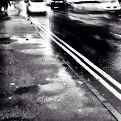 11-21-jane (Jane Poate) Tags: 366project blackandwhite iphoneography slowshutterapp road puddles cars traffic rain