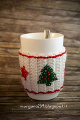 XmasCozyMug_06w (Morgana209) Tags: natale natale2016 christmas cozymug tazze uncinetto crochet feltro handmade fattoamano creativit rosso bianco lana stelle albero tree merenda colazione biscotti