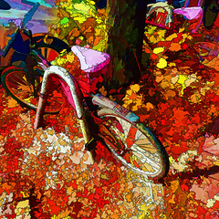 fallen leaves (j.p.yef) Tags: peterfey jpyef yef germany hamburg seasons autumn herbst leaves bicyclesmbltter digitalart street