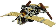 Dragonfly Super-Light Diesel Scout Aircraft Mk. XXX (front) (aillery) Tags: lego dieselpunk military diesel scout fighter air plane craft aircraft airplane light reconnaissance recon adventurers desert two stroke single piston