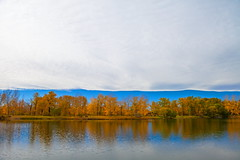 Weigh Heavily (stevenbulman44) Tags: chinook cloud tree color autumn fall landscape white blue horizon sky reflection water canon 2470f28l filter polarizer fishcreek canlgary outdoor