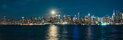 Moonlit Skyline (Sid's Corner) Tags: green skyscrapers skyline nyc new york newyork newyorkcity panorama sunset cityscape city usa nikon nikond800 waterfront schoksi schoksiphotography ngc weehawken nj newjersey northbergen portimperial 911 nightphotography reflection streetphotography nightscape manhattan empirestate