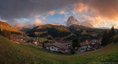 Italy. Dolomites. Panorama of the village of Santa Cristina in Val Gardena and the mountains Sassolungo (naumenkophotographer.com.ua) Tags: gardena val italy dolomites sassolungo selva mountain valley pentax alps landscape di sky travel nature resort south dolomite alpine blue mountains tyrol trentino ortisei peak rock high autumn europe snow clouds view panorama village range tourism trekking adige park meadow italian