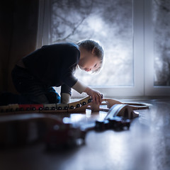 Trains (over the bridge) (iwona_podlasinska) Tags: indoor child kid train toy iwona podlasinska window winter blue cute floor reflection light beautiful cold tones h