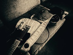 Jammin' (J.C. Moyer) Tags: tele telecaster guitar electricguitar couch ipad music musicalinstrument irig2 sennheiserheadphones sennheiser headphones blackandwhite