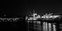 Prague at Night (romanboed) Tags: karluv most charles bridge night vltava reka river moldau old town stare mesto monochrome black white bw leica m 240 summilux 50 europe czech republic czechia bohemia prague cesko ceska republika praha hlavni city cityscape travel tourism architecture praag prag praga