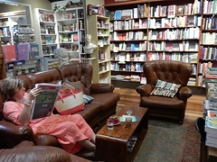 Reading in a Book Shop (mikecogh) Tags: maleny bookshop books comfortable shelves reading relaxing sofa couch armchairs customer