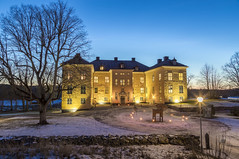 Wenngarn Palace Twilight (Stefan Sjogren) Tags: wenngarn palace castle slott sigtuna stockholm sweden sverige twilight blue hour yellow medieval old gravel trees clear windows wall stone canon eos 6d