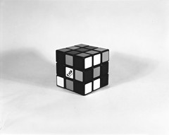 Rubik's cube (•Nicolas•) Tags: 4x5 analogic analogique bw busch camera film ilford multigradev nb nicolasthomas pressman stilllife test vintage game jeu cube rubiks