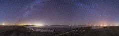 A Night on the Southwestern Shore of the Salton Sea (slworking2) Tags: saltoncity california unitedstates us panorama saltonsea navalstation abandoned lake desert water milkyway nighttime sky