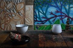 IMG_8817 (dnassler) Tags: paintings table bowl ledcandle woodtable branches sageburning sage