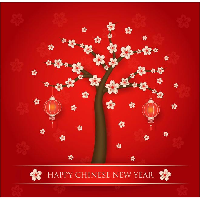free vector happy chinese new year 2017 tree with red background cgvector tags