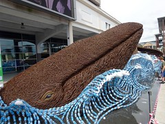 Whale in plastic ocean