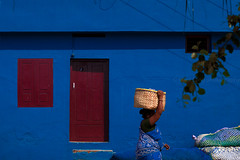 Blue. Kanyakumari, India (Marji Lang Photography) Tags: life street door travel blue light people woman india house color building colors wall composition walking photography daylight colorful geometry walk painted indian streetphotography documentary going bleu colourful tamil tamilnadu carrying kanyakumari inde southindia bluehouse streetshot travelphotography indianpeople 2013 indiansubcontinent streetcomposition kaniyakumari colorfulsetting marjilang