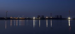 Mersey Gate Way Project at Night (joanjbberry) Tags: sunset sky reflection river island golden pentax nighttime clearsky runcorn k3 cameraclub rivermersey wiggs runcornbridge merseygateway runcorndocks moorecameraclub pentaxk3 wiggsisland merseygatewayproject newruncornbridge