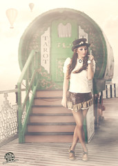 Hypnosis (rubenfcid) Tags: street woman mist girl hat vintage gente time watch victorian skirt steam tarot montage shooting hypnosis pocketwatch steampunk googles steamgirl
