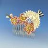Pink Crane Comb (Wisteria Gardens) Tags: flower floral handmade silk maiko geiko hana geisha yukata kimono tsumami furisode kanzashi