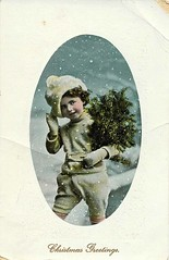 Antique Christmas Postcard - Boy Carrying Evergreen (Brynn Thorssen) Tags: santa christmas xmas red holiday snow green vintage gold antique holly postcards yule fatherchristmas santaclaus merrychristmas santaklaus happynewyear happychristmas yuletide oldsaintnick