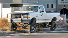 Lifted F350 (Eyellgeteven) Tags: white classic ford truck vintage shiny 4x4 pickup pickuptruck vehicle 1990s madeinusa americanmade fourwheeldrive f350 lifted fomoco 1ton pushbar eyellgeteven