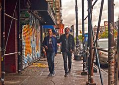 You Can Lean On Me (tacosnachosburritos) Tags: life street city nyc urban woman newyork man guy girl lady trash race photography graffiti thestreets gritty human bigapple hangingout