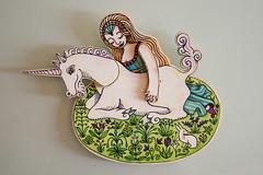unicorno e fanciulla-legno&carta