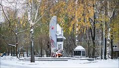 Russia. Moscow. Monument to pilots on the Kirovogradskaya street. (Yuri Degtyarev) Tags: russia moscow monument pilots kirovogradskaya street        2   moscou moskva moskau moskova snow birch   43 micro fourthirds hx025e panasonic lumix dmcg3 g3 leica panaleica pannyleica 25mm 2514 ngc
