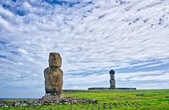 Aren't we a pair? (Rice Bear) Tags: chile easterisland hangaroa cl ahu ahutahai clouds sea moai statues grass travel adventure hdr regióndevalparaíso