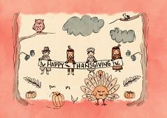 happy thanksgiving (ruxandradraws) Tags: illustration print printable autumn thanksgiving watercolor ink childrenillustration