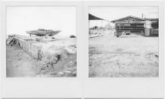 Bombay Beach (28.dans.later) Tags: polaroid polaroidonestep theimpossibleproject instantfilm bw monochrome empty boat desert bombaybeach thesaltonsea california diptych