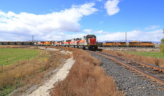 Time to Cut in (GLC 392) Tags: price martin ut utah railway train railroad mk morrison knudeson shops clouds sky mountains 5004 mk5000c mk503 sd50s 6064 helper buildings gw genessee wyoming valley fall color signal 6062 5002 5003 6063 cusipj mid helpers spring glen outdoor landscape mountainside hill foothill up union pacific 7616 2565 ge gevo es44ah ac45ccte cutting