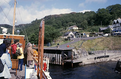 Arriving at Inversnaid - from 'Countess Fiona'. Sep'84. (David Christie 14) Tags: countessfiona lochlomond inversnaid