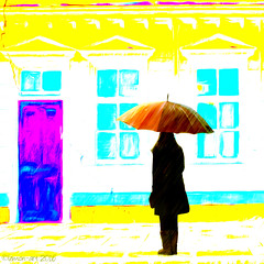 Outside the Painted House (Lemon~art) Tags: naive simplified house door windows woman umbrella rain texture manipulated painted primitive