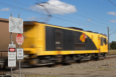 Stop! (PJ Reading) Tags: aurizon qr qrnational queensland rail railway train cargo goods freight locomotive qld australia transport transportation electric electricity coal mineral bulk export gladstone blackwater rockhampton northcoast central ncl 3800