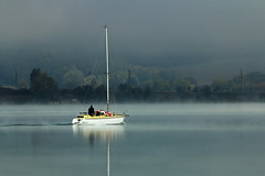 (tozofoto) Tags: europe hungary tozofoto landscape canon lake morning autumn lights shadows colors reflection fog mist boat sailboats travelling travel holiday