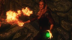 TESV - Arneil's Conviction (tend2it) Tags: kenb elder scrolls skyrim v rpg game pc ps3 xbox screenshot sweetfx enb krista demonica race sg lilith 161 felicia arcane mage magic magik cast caster spell green eyes blond hair mods fire red yellow orange arneils conviction