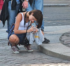 Female Tourist (Waterford_Man) Tags: london tourists girls girl mobile phone cell camera photographer people path summer road street hot