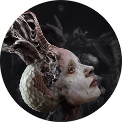 Le vaisseau carapace I (Marine Lupercale) Tags: woman portrait wax sculpture root organic digital manipulation montage composition digitalart