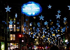London Lights - Oxford Street (Julie A1) Tags: g7x canon londonwalk nighttime nightphotography colours brightcolours baubles stars oxfordstreet london christmas lights